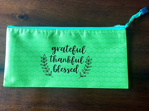 """Grateful Thankful Blessed"" Travel pouch"