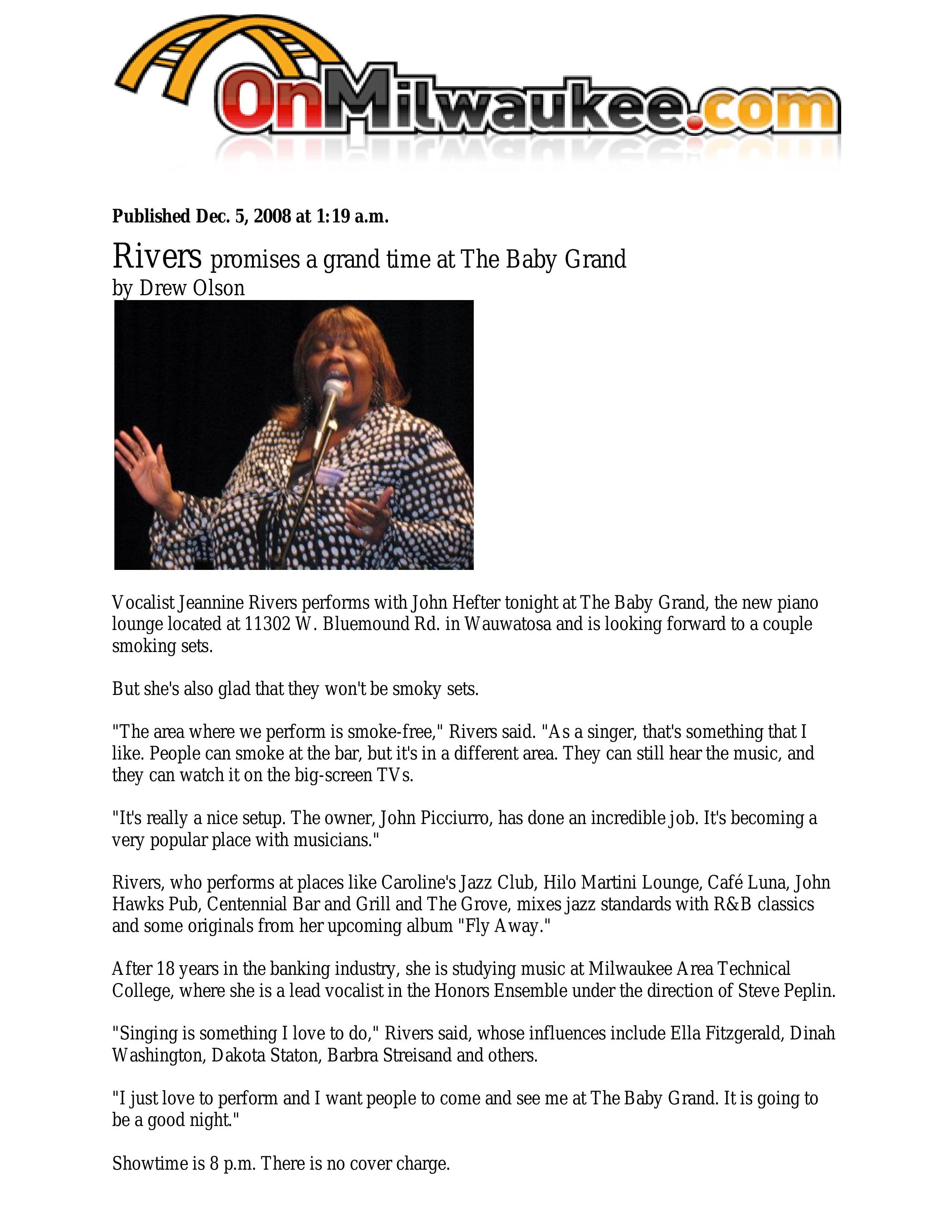 2008 OnMilwaukee Jazz Article