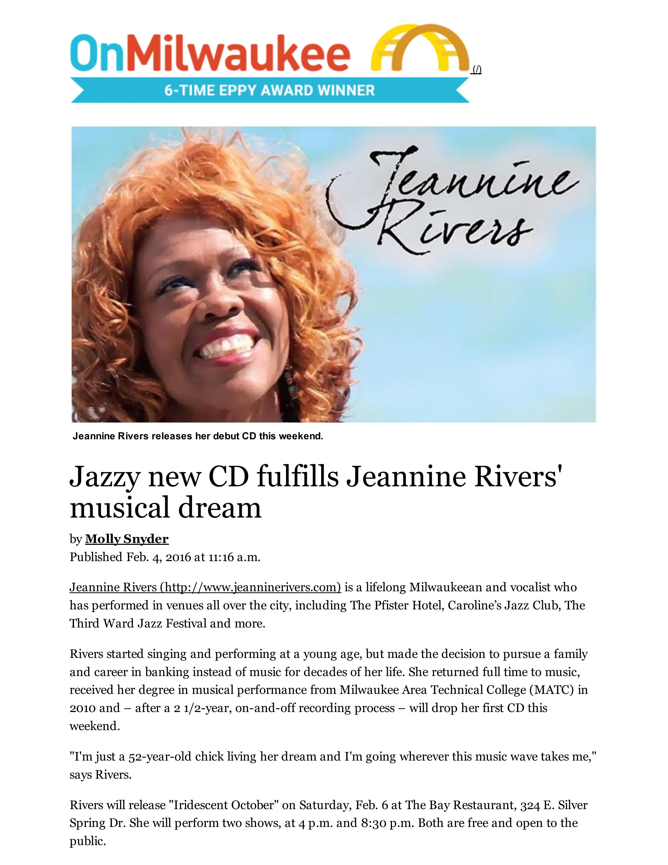 2016 OnMilwaukee -Jazz Article