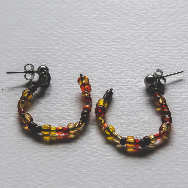 Orange Semi-Circle Earrings - WE04