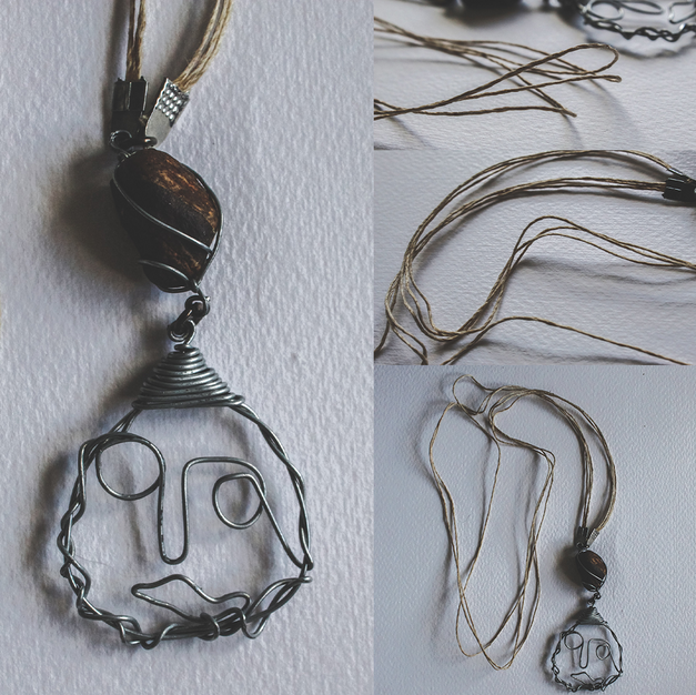 Face & Stone Necklace - P01