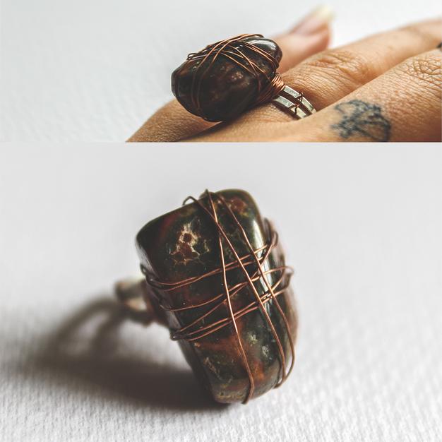 Stone & Copper Ring - SR03