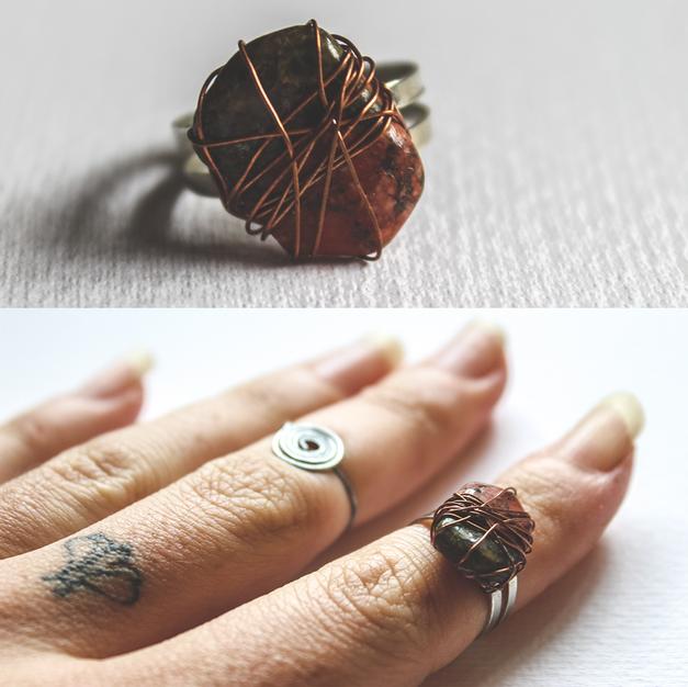 Stone & Copper Ring - SR02