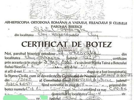 Romanian Baptism Certificate: full guide