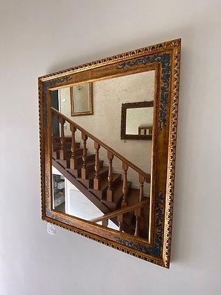 Specchiera decoro oro antico e blu.