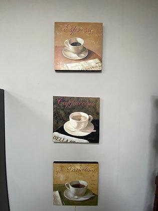 Tre quadretti tema caffè