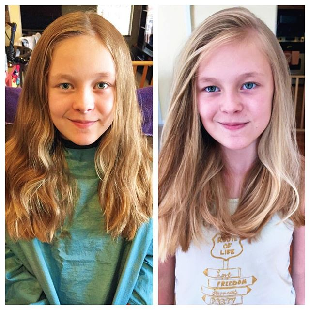 Someone's ready for middle school! Virgin hair turned turned California babe✌🏼Integrity of her hair