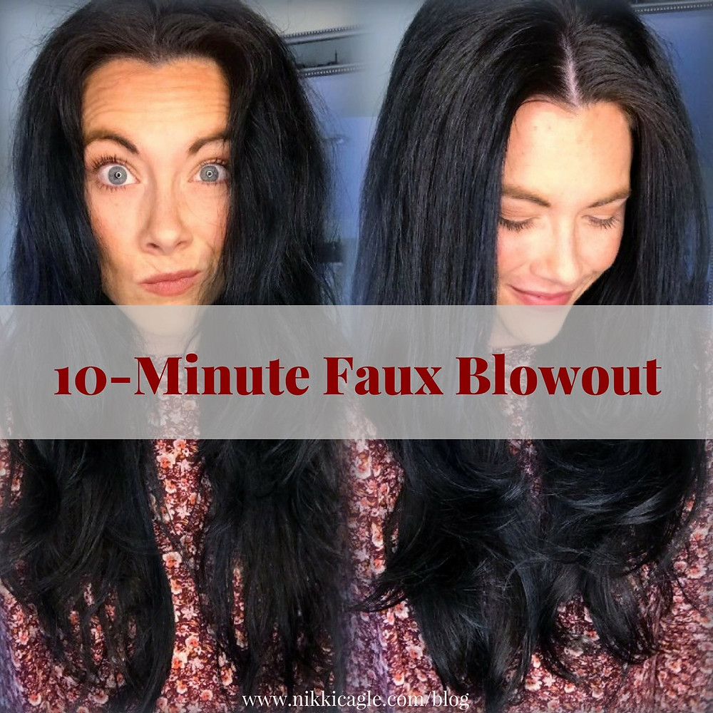 Before & After 10-minutes Faux Blowout