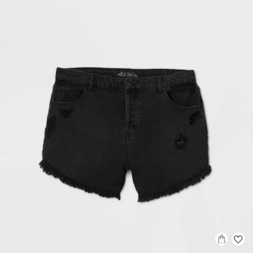 Black cut-off distressed short