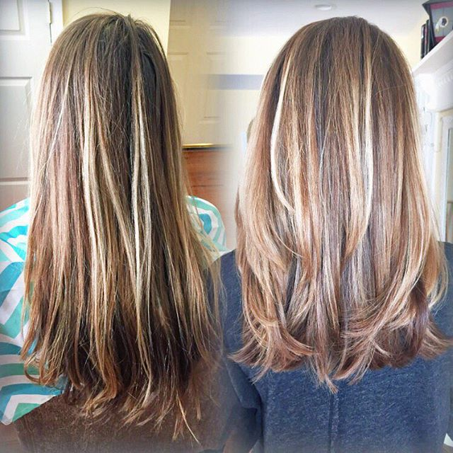 A couple inches, t o n s of layers & a touch-up balayage go a long way! #transformationtuesday _ #mo