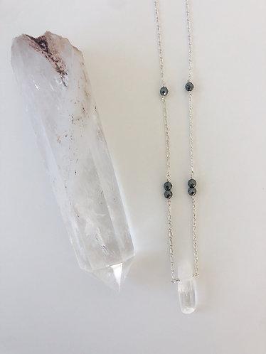 Protection Necklace (Clear Quartz & Hematite)