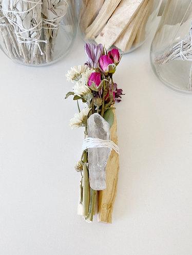 Clear Quartz Nurture Flower Bundle