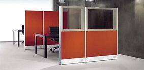 Biombo de oficina cristal y tapizado