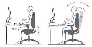 Ergonomia y una postura correcta a la hora de trabajar sentado.