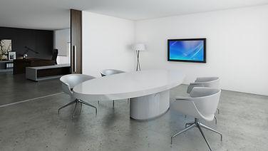 Mesa de reuniones ovalada de madera lacada