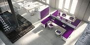 Muebles de oficina con acabado efecto cristal
