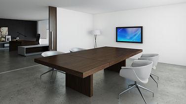 Mesa de reuniones rectangular de madera
