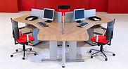 Conjunto de Mesas de oficina pata metálica y separadores