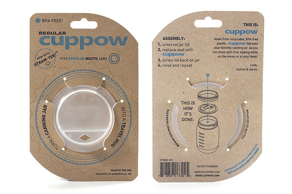 CUPPOW CANNING JAR DRINKING LID - REGULAR MOUTH - CLEAR