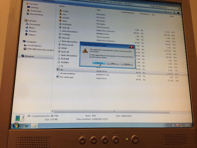 Installing VLC media player through the compressed zip file and