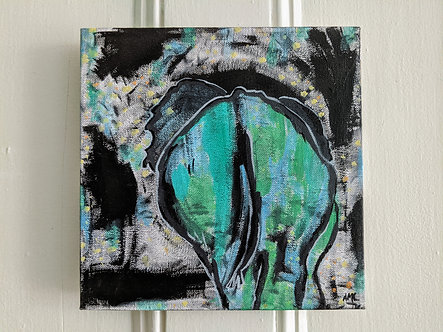 an elephant on her way - acrylic painting