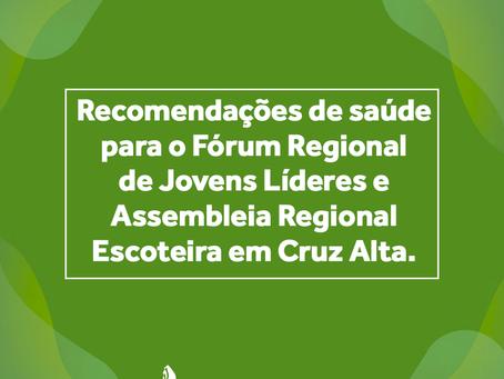 Recomendações sobre o Fórum de Jovens e Assembleia Regional