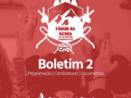 Boletim 2 do Fórum Regional Pioneiro