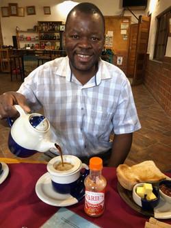 O'Brian having tea at the Dedza Pott