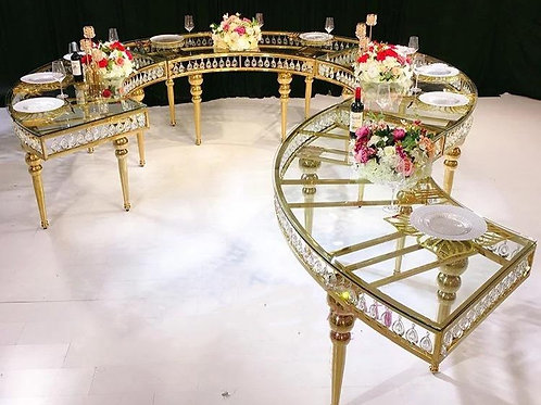 Serpentine Crystal Table,Priced per section