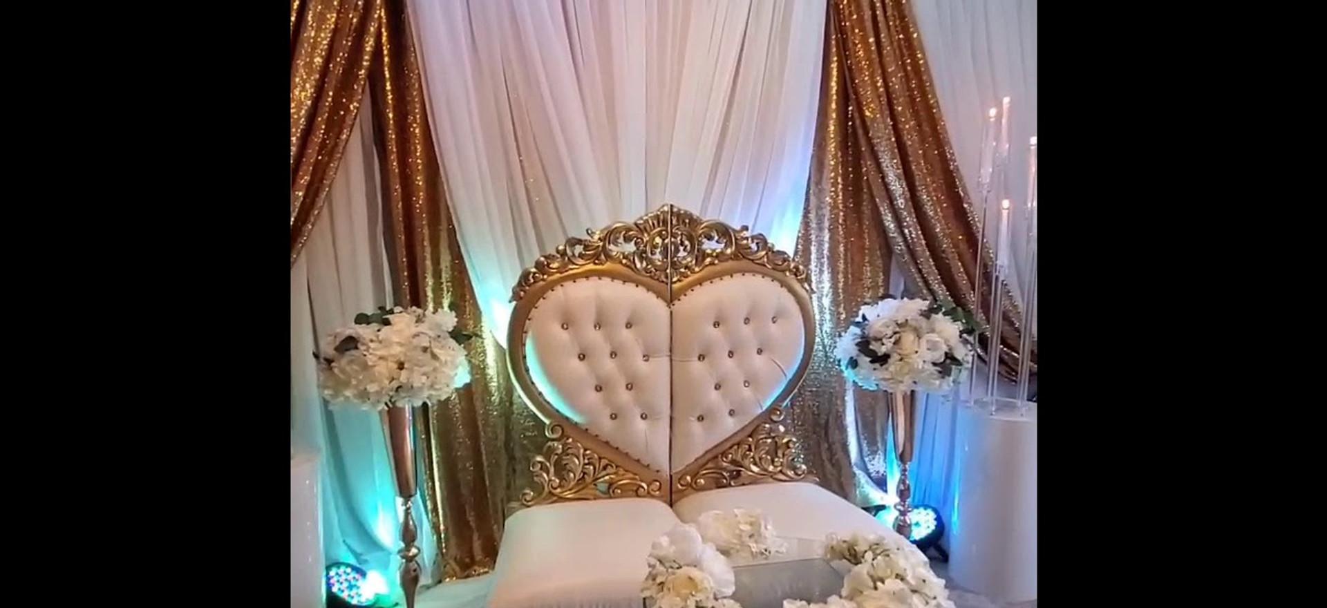 Traditional wedding basement set up