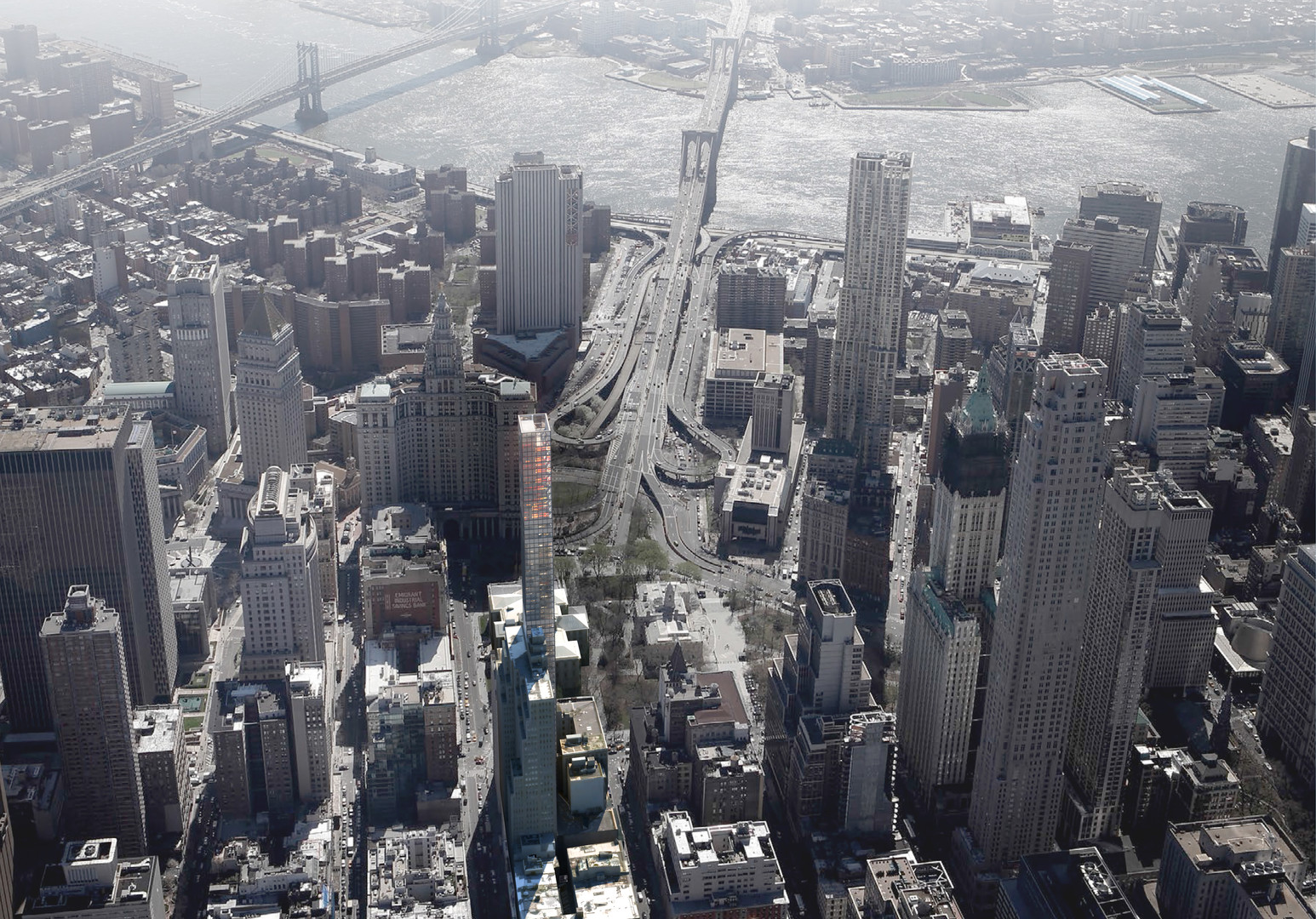Aerial view with the Brooklyn Bridge beyond