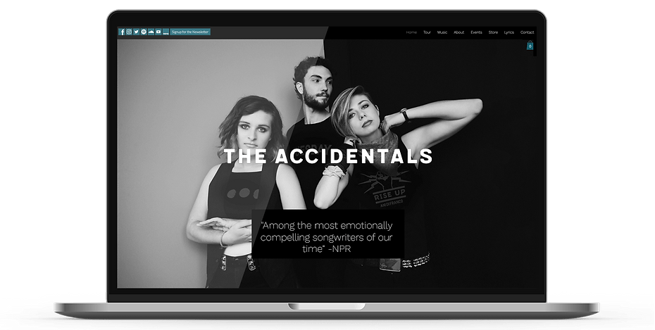 The Accidentals Webdesign on a laptop