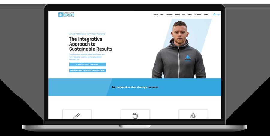 Laptop display of website for Integrative Health