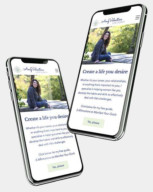 Amy Valentine Life Coach Web design on mobile phone
