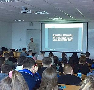 Luke O Mahony giving an inspirational speech