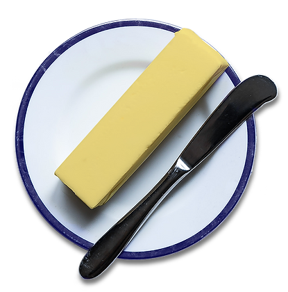 A stick of butter on a plate