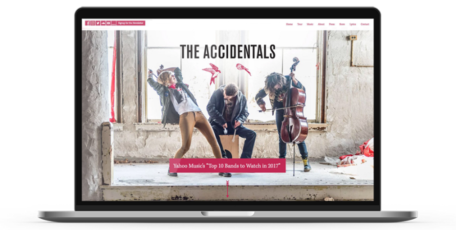 Laptop display of website for The Accidentals