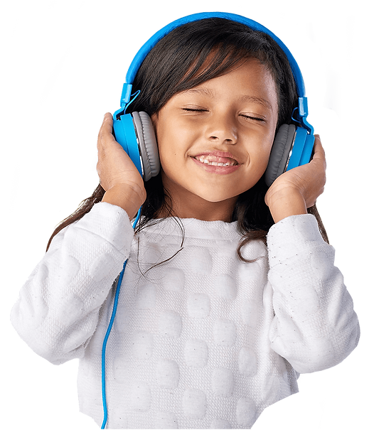 Photo of a happy girl listening to headphones