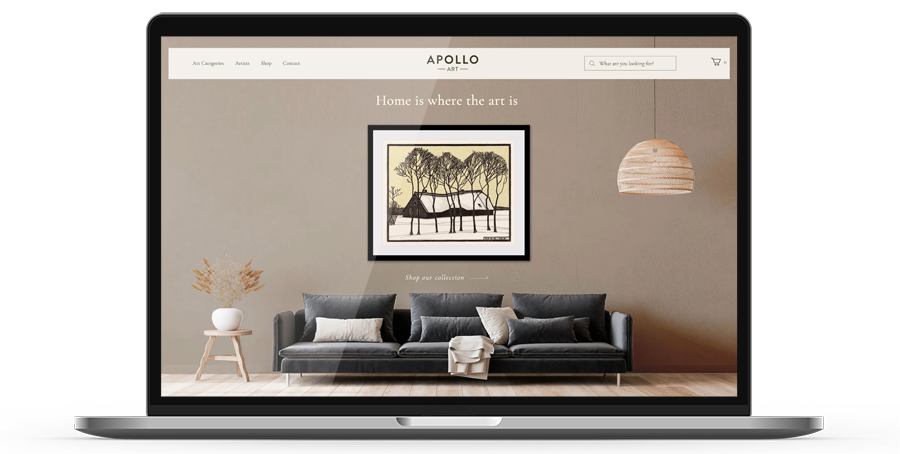 Laptop display of website for ApolloArt