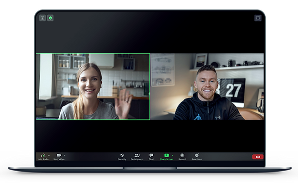Zoom call on a laptop with personal fitness trainer