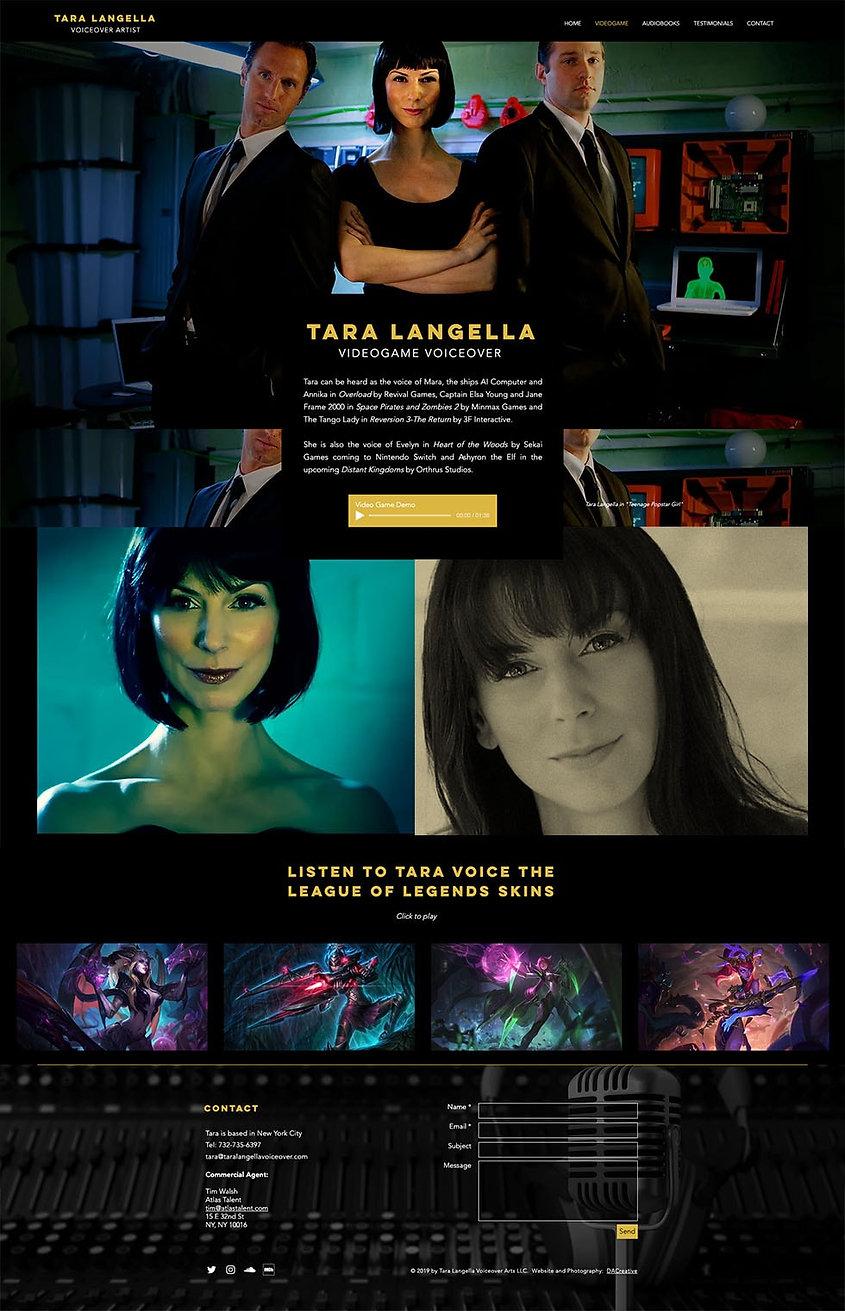 Tara Langell Voiceover Artist Video Game Webdesign
