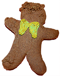 Gingerbread man cookie with yellow icing bowtie