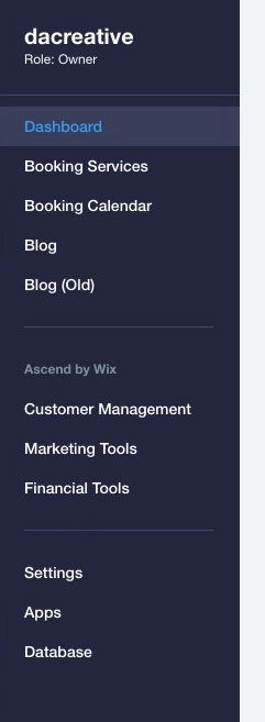 Wix Website Dashboard Settings Screen sho