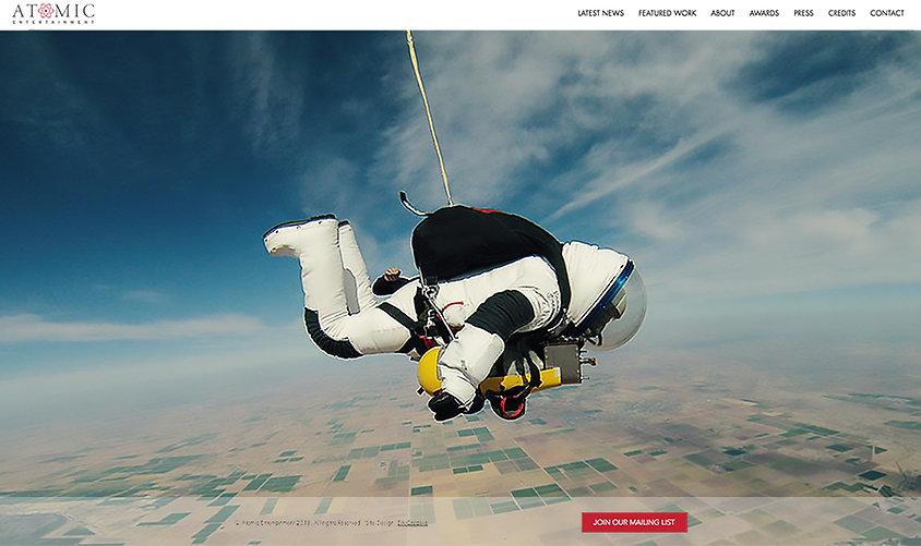 Homepage webdesign fo Atomic Entertainment