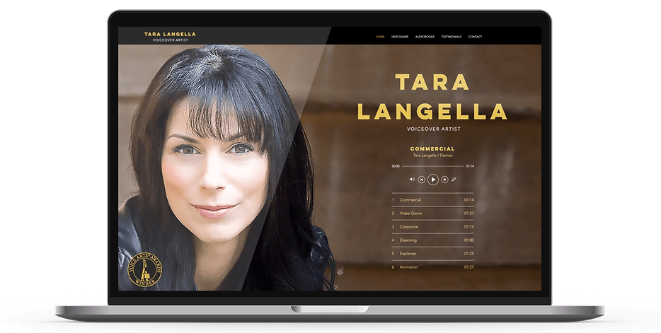 Laptop display of website for voiceover artist Tara Langella