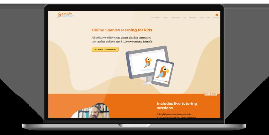 Laptop display of website for SimplySpanish