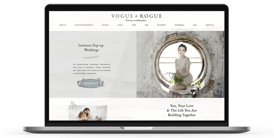 Vogue and Rogue Website displayed on a laptop