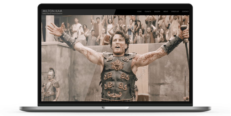 Laptop display of website for cinematographer, Milton Kam