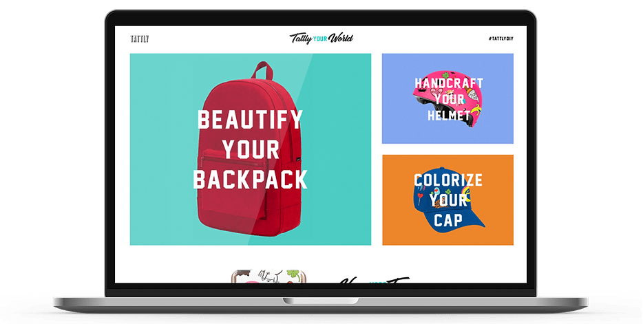 Laptop display of website for Tattly