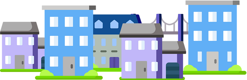 Illustration of a city homes in Aylesbury, Hemel Hempstead, and Watford